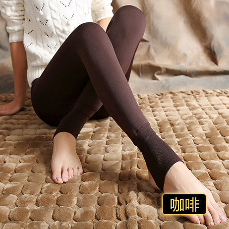 Bohocotol elastic plus velvet women's autumn and winter high waist skin color incarcerators legging trousers thickening step one-Women's Bottoms-Enso Store-coffee-S-Enso Store