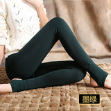 Bohocotol elastic plus velvet women's autumn and winter high waist skin color incarcerators legging trousers thickening step one-Women's Bottoms-Enso Store-dark green-S-Enso Store
