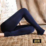 Bohocotol elastic plus velvet women's autumn and winter high waist skin color incarcerators legging trousers thickening step one-Women's Bottoms-Enso Store-navy blue-S-Enso Store