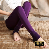 Bohocotol elastic plus velvet women's autumn and winter high waist skin color incarcerators legging trousers thickening step one-Women's Bottoms-Enso Store-purple-S-Enso Store