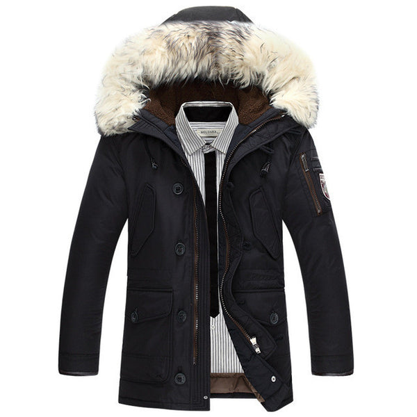 Brand clothing jackets thick keep warm men is down jacket high quality fur collar hooded down jacket winter coat Male-Men's Jackets & Coats-Enso Store-Black-M-Enso Store