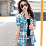 Brand New 2017 Summer Style Plaid Print Short Sleeve Shirts Women Plus Size Blouses Casual 100% Cotton Tops Blusas 14 Colors-Women's Blouses-Enso Store-8801-L-Enso Store