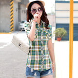 Brand New 2017 Summer Style Plaid Print Short Sleeve Shirts Women Plus Size Blouses Casual 100% Cotton Tops Blusas 14 Colors-Women's Blouses-Enso Store-8802-L-Enso Store