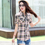 Brand New 2017 Summer Style Plaid Print Short Sleeve Shirts Women Plus Size Blouses Casual 100% Cotton Tops Blusas 14 Colors-Women's Blouses-Enso Store-8803-L-Enso Store