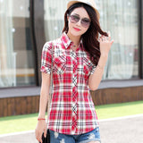 Brand New 2017 Summer Style Plaid Print Short Sleeve Shirts Women Plus Size Blouses Casual 100% Cotton Tops Blusas 14 Colors-Women's Blouses-Enso Store-8804-L-Enso Store