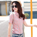 Brand New 2017 Summer Style Plaid Print Short Sleeve Shirts Women Plus Size Blouses Casual 100% Cotton Tops Blusas 14 Colors-Women's Blouses-Enso Store-8807-L-Enso Store