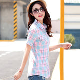 Brand New 2017 Summer Style Plaid Print Short Sleeve Shirts Women Plus Size Blouses Casual 100% Cotton Tops Blusas 14 Colors-Women's Blouses-Enso Store-8808-L-Enso Store