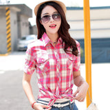 Brand New 2017 Summer Style Plaid Print Short Sleeve Shirts Women Plus Size Blouses Casual 100% Cotton Tops Blusas 14 Colors-Women's Blouses-Enso Store-8809-L-Enso Store