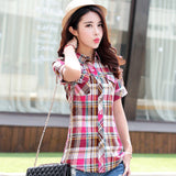Brand New 2017 Summer Style Plaid Print Short Sleeve Shirts Women Plus Size Blouses Casual 100% Cotton Tops Blusas 14 Colors-Women's Blouses-Enso Store-8810-L-Enso Store