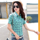 Brand New 2017 Summer Style Plaid Print Short Sleeve Shirts Women Plus Size Blouses Casual 100% Cotton Tops Blusas 14 Colors-Women's Blouses-Enso Store-8811-L-Enso Store