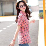Brand New 2017 Summer Style Plaid Print Short Sleeve Shirts Women Plus Size Blouses Casual 100% Cotton Tops Blusas 14 Colors-Women's Blouses-Enso Store-8814-L-Enso Store