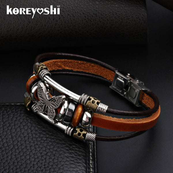Butterfly Bracelets 2016 Hot Sales Hand Made Braided buckle Fashion Style Popular Charm Leather Bracelets Bangles for Men Women-Bracelets & Bangles-Enso Store-vintage silver-Enso Store