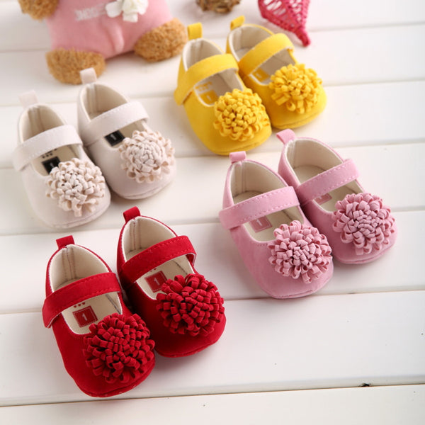 Candy Colors Newborn Baby Prewalker Soft Bottom Anti-slip Shoes Footwear Classic Princess Girl Crib Mary Jane Big Flower Shoes-Baby Shoes-Enso Store-Model 1-1-Enso Store