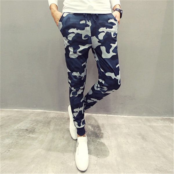 Casual Men Pants Cool Blue Camouflage Slim Fit New Spring Style Pencil Pants Hip Hop Trousers Men Quality Men Joggers-Men's Pants-Enso Store-blue-M-Enso Store