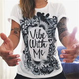 CDJLFH Summer Vibe With Me Print Punk Rock Graphic Tees White Designer 3D T shirt Clothing Women European Fashion T-shirt 2017-Women's Shirts-Enso Store-04-S-Enso Store