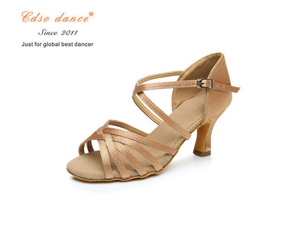 cdso dance shoes 288 Satin/PU Popuplar High Quality Latin Dance Shoes for Women/Ladies/Girls/Tango&Salsa 5.5cm /7cm Heel-Sneakers-Enso Store-light tan 55mm heel-4.5-Enso Store