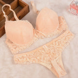 [Cheap]New 2016 Lace Embroidery Bra Set Women Plus Size Push Up Underwear Set Bra and Panty Set 32 34 36 38 ABC Cup For Female-Women's Bras and Brief Set-Enso Store-Beige-B-32-Enso Store
