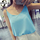 Chiffon Tank Top Women 2017 New Summer Sleeveless Shirt Sexy V-neck Cami Loose Casual Female Tops Plus Size Vest Ladies Clothing-Enso Store-blue-S-Enso Store