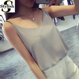 Chiffon Tank Top Women 2017 New Summer Sleeveless Shirt Sexy V-neck Cami Loose Casual Female Tops Plus Size Vest Ladies Clothing-Enso Store-gray-S-Enso Store