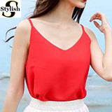 Chiffon Tank Top Women 2017 New Summer Sleeveless Shirt Sexy V-neck Cami Loose Casual Female Tops Plus Size Vest Ladies Clothing-Enso Store-red-S-Enso Store
