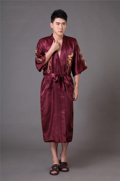 ... Chinese long Men s Satin Silk home Robe Embroidery male Kimono Bath Dressing  Gown Dragon nightgowns pyjamas 2830a8e4c