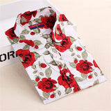 Clearance! Women's Shirt Cotton Floral Print Blouse Long Sleeve Blusas Femininas Floral Woman Blouses Casual Blusas Mujer Shirts-Women's Blouses-Enso Store-Black folral-4XL-Enso Store