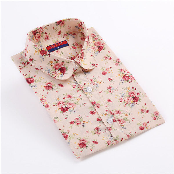 Clearance womens shirt cotton floral print blouse long sleeve womens shirt cotton floral print blouse long sleeve blusas femininas floral woman blouses casual mightylinksfo