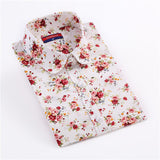 Clearance! Women's Shirt Cotton Floral Print Blouse Long Sleeve Blusas Femininas Floral Woman Blouses Casual Blusas Mujer Shirts-Women's Blouses-Enso Store-White flower-4XL-Enso Store