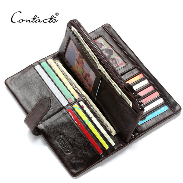 CONTACT'S Brand Classic Men Wallet European&American Crazy Horse Leather Wallets Fashion Purse Card Holder Man Vintage Wallets-Women's Wallets-Enso Store-Dark Brown-Enso Store