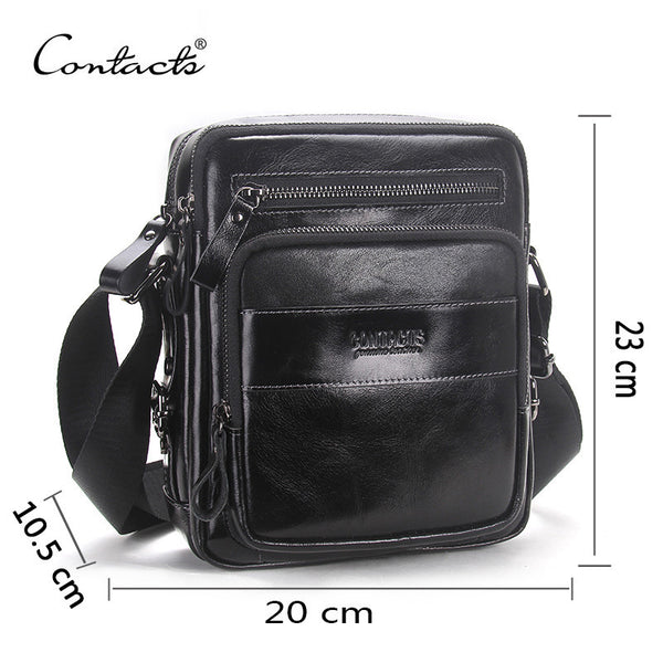 CONTACT'S Genuine Leather Bag Business Style Men's Bags Small Shoulder Messenger Crossbody Bags Men's Leather Bag Men Handbag-Bag Parts & Accessories-Enso Store-Black-China-Enso Store