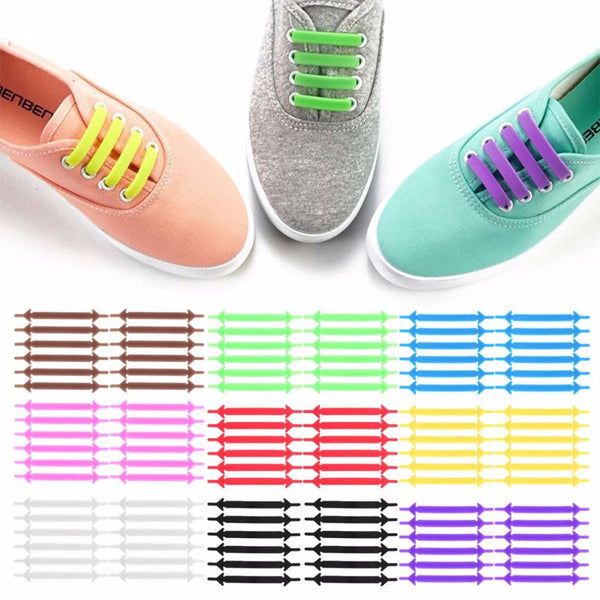 Creative Design Unisex Women Men Athletic Running No Tie Shoelaces Elastic Silicone Shoe Lace All Sneakers 9 Colors Optional - EnsoStore