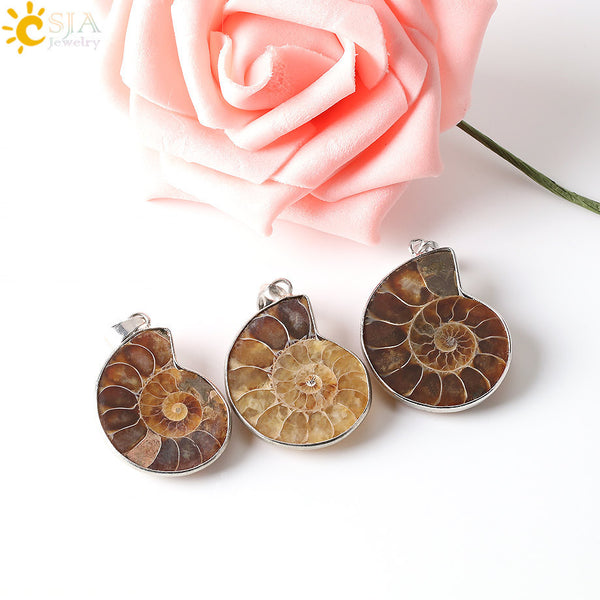 CSJA Natural Stone Ammonite Fossils Seashell Snail Pendants Ocean Reliquiae Conch Animal Necklaces Statement Men Jewellery E252-Necklaces & Pendants-Enso Store-Fossils Necklace-Enso Store