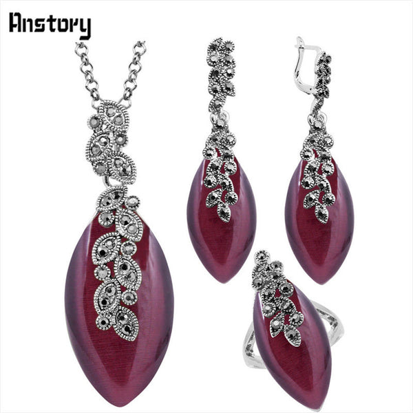 Dark Purple Opal Jewelry Set Leaf Pendant Necklace Earrings Ring Antique Silver Plated Rhinestone Clip On TS361 - EnsoStore
