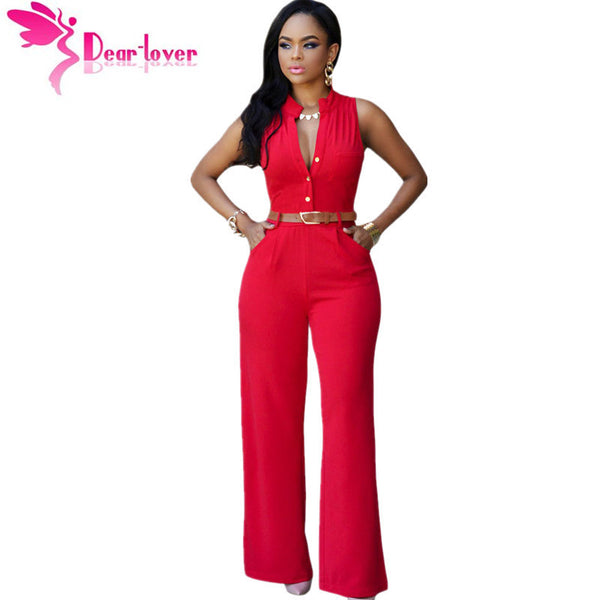 DearLover Fashion Big Women Sleeveless Maxi Overalls Belted Wide Leg Jumpsuit 7 Colors S-2XL Plus Size macacao long pant LC60932-Enso Store-White-L-Enso Store