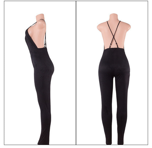 Deep V sexy backless pencil pants / feet pants nightclub Cashmere Suede Leather One Pieces Jumpsuit Women Rompers-Enso Store-Black-S-Enso Store