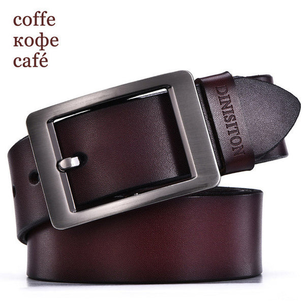 DINISITON cowhide genuine leather belts for men designer belts brand Strap male pin buckle fancy vintage jeans ceinture-Men's Accessories-Enso Store-RE coffe-100cm-Enso Store