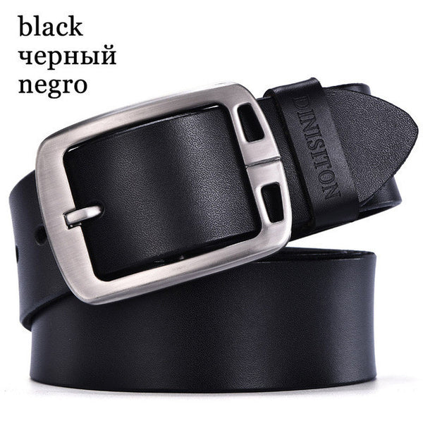 DINISITON mens cow genuine leather man belt luxury strap male belts for men new fashion vintage pin buckle Designer belt brand-Men's Accessories-Enso Store-RA black-100cm-Enso Store