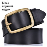 DINISITON mens cow genuine leather man belt luxury strap male belts for men new fashion vintage pin buckle Designer belt brand-Men's Accessories-Enso Store-RF black-100cm-Enso Store