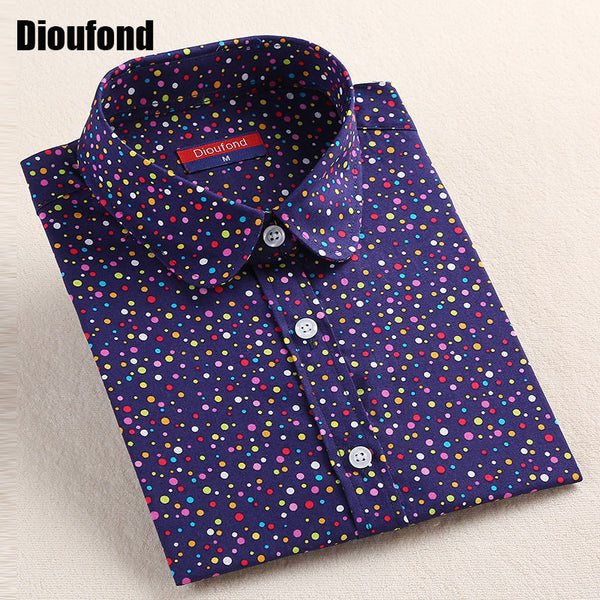 Dioufond 2016 Fashion Polka Dot Blouse Long Sleeve Shirt Women Blouses Cotton Women Shirts Red Blue Dot Top Blusas Women Tops-Women's Blouses-Enso Store-black dot-4XL-Enso Store