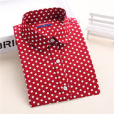Dioufond 2016 Fashion Polka Dot Blouse Long Sleeve Shirt Women Blouses Cotton Women Shirts Red Blue Dot Top Blusas Women Tops-Women's Blouses-Enso Store-Mreddot-XXL-Enso Store