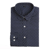 Dioufond 2016 Fashion Polka Dot Blouse Long Sleeve Shirt Women Blouses Cotton Women Shirts Red Blue Dot Top Blusas Women Tops-Women's Blouses-Enso Store-Navy blue dot-4XL-Enso Store