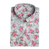 Dioufond New Floral Long Sleeve Vintage Blouse Cherry Turn Down Collar Shirt Blusas Feminino Ladies Blouses Womens Tops Fashion-Women's Blouses-Enso Store-gray rose-L-Enso Store