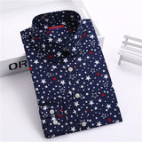 Dioufond New Floral Long Sleeve Vintage Blouse Cherry Turn Down Collar Shirt Blusas Feminino Ladies Blouses Womens Tops Fashion-Women's Blouses-Enso Store-navy star-XXL-Enso Store