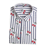 Dioufond New Floral Long Sleeve Vintage Blouse Cherry Turn Down Collar Shirt Blusas Feminino Ladies Blouses Womens Tops Fashion-Women's Blouses-Enso Store-stricherry-L-Enso Store