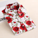 Dioufond Women Cherry Blouses Long Sleeve Shirt Turn Down Collar Floral Blouse Camisas Femininas Women And Blouses Fashion-Women's Blouses-Enso Store-WhiteredFl-XXXL-Enso Store