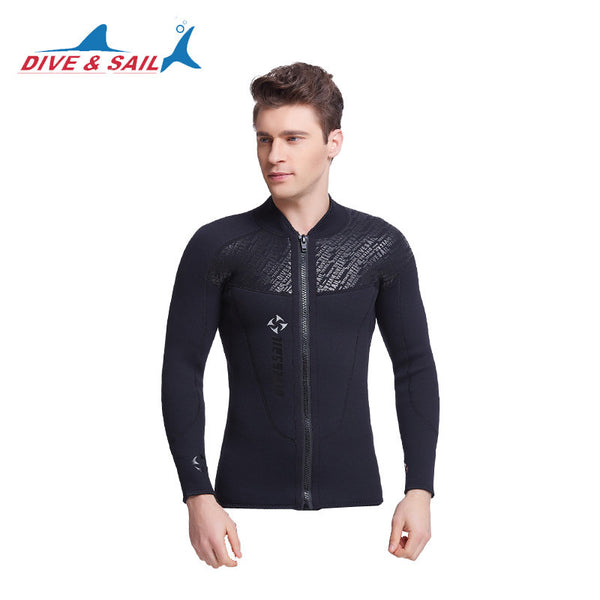 Dive&Sail 3MM Neoprene Long Sleeved Jumpsuit For Men Wetsuit Scuba Dive Jacket Wet Suit Top Winter Swim Warm Surf Upstream-Men's Swimwear-Enso Store-wetsuit no pant-S-Enso Store