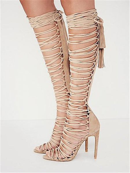 2a0f671a9f4a ENMAYER Plus Size 34-43 New Sexy Knee High Gladiator Sandals High Heels  Lace Up