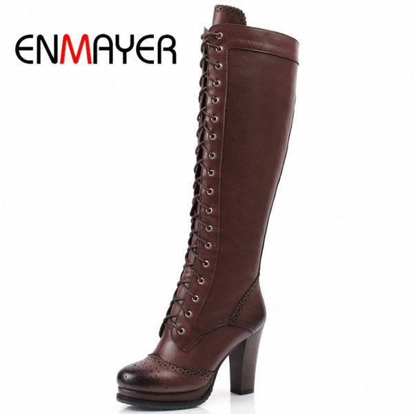 ENMAYER Winter Boots Shoes Woman High Quality Sexy Women Thigh High Boots Lace Up Knee Boot High Heel Retro Knight Boots-Women's Boots-Enso Store-Black-4-Enso Store