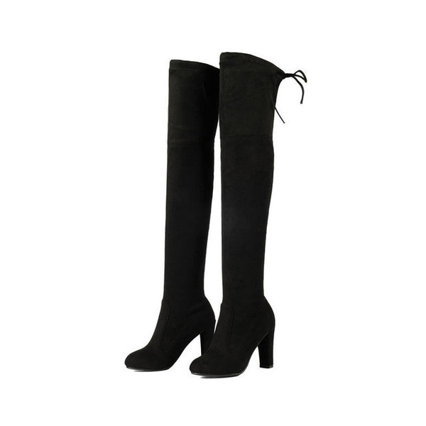 ESVEVA 2017 Western Style Spring Over The Knee Boots Square High Heel Women Boots Sexy Ladies Lace Up Fashion Boots Size 34-43 - EnsoStore