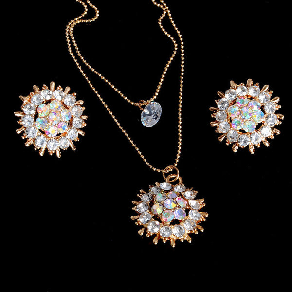 Exquisite Full CZ Crystal Pendants Necklace Earrings Sets 2 Layer Gold Color Jewelry Sets with Stud Earrings-Wedding & Engagement-Enso Store-Enso Store